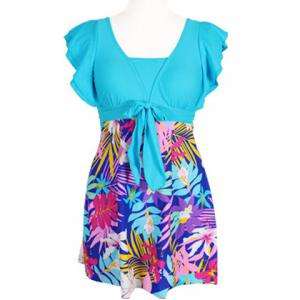 Refreshing Square Neck Butterfly Sleeve One-Piece Tropical Print Swimwear For Women -