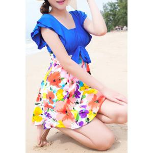 Refreshing Square Neck Butterfly Sleeve Floral Print One-Piece Swimwear For Women -