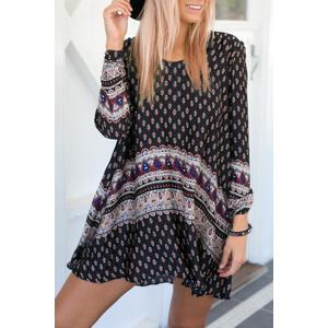 Long Sleeve Printed Mini T-Shirt Dress - Black - Xl