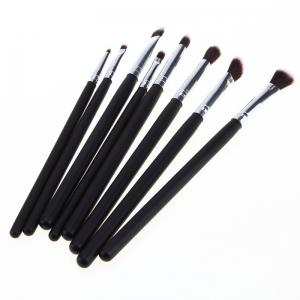 Stylish 8 Pcs Classic Fiber Eye Makeup Brushes Set - BLACK