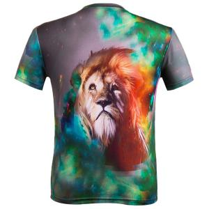 3D Lion Print Color Block Round Neck Short Sleeve T-Shirt For Men -