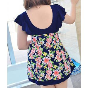 Sweet Style Plunging Neck Butterfly Sleeve Floral Print One-Piece Swimwear For Women -