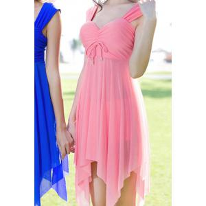 Graceful Sweetheart Neck Solid Color See-Through Asymmetrical Swimwear For Women - Pink - 2xl
