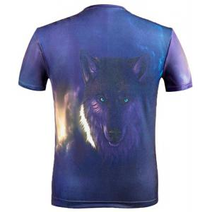 3D Wolf Printed Round Neck Short Sleeve T-Shirt For Men -