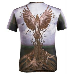 3D Eagle and Bole Printed Round Neck Short Sleeve T-Shirt For Men - COLORMIX M