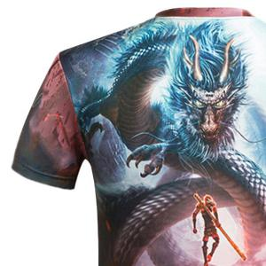 3D Cartoon Dragon and Figure Printed Round Neck Short Sleeve T-Shirt For Men -