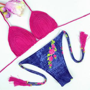 Chic Floral Printed Denim Briefs Halter Crochet Bikini For Women