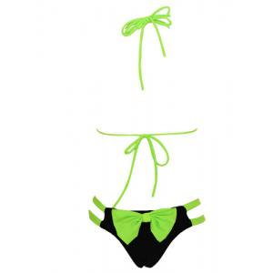 Halter  Color Block Bowknot Design Bikini Set For Women - GREEN S