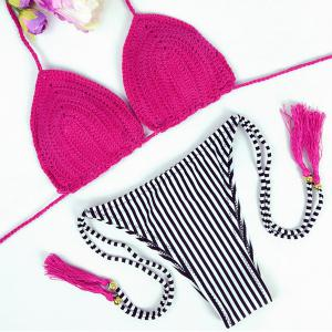 Trendy Striped Halter Crochet Bikini Set For Women