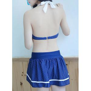 Sweet Style Halter Neck Bowknot Backless Three-Piece Polka Dot Swimsuit For Women -