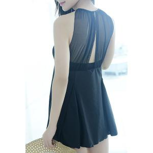 Sexy High Neck See-Through Black One-Piece Hollow Out Swimsuit For Women -