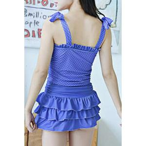 Fresh Style Strappy Polka Dot Bowknot Ruffled Swimsuit For Women -