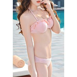 Fresh Style Halter Neck Lace Flower Pattern See-Through Four-Piece Swimsuit For Women -