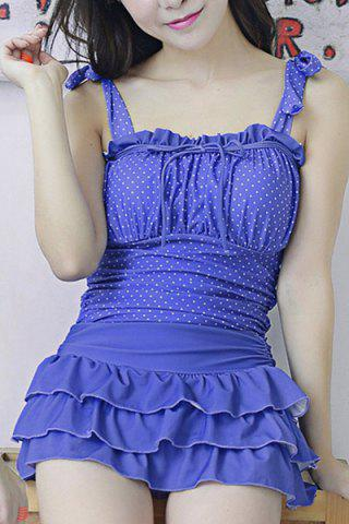 Hot Fresh Style Strappy Polka Dot Bowknot Ruffled Swimsuit For Women