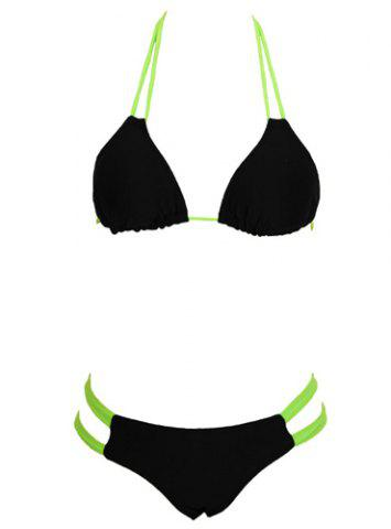 Outfits Halter  Color Block Bowknot Design Bikini Set For Women GREEN S