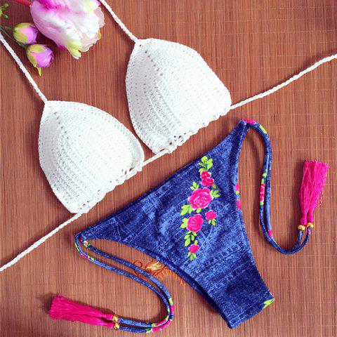 New Chic White Crochet Bra and Floral Printed Denim Briefs Bikini Set For Women WHITE S
