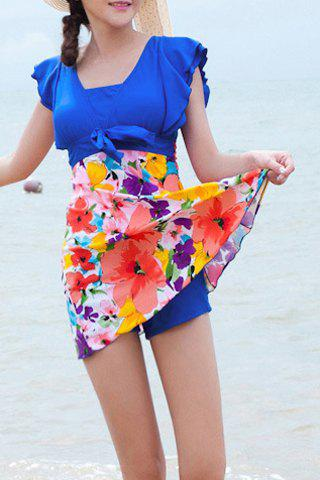 Chic Refreshing Square Neck Butterfly Sleeve Floral Print One-Piece Swimwear For Women