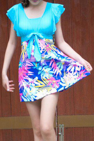 Unique Refreshing Square Neck Butterfly Sleeve One-Piece Tropical Print Swimwear For Women