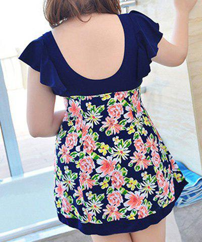 Online Sweet Style Plunging Neck Butterfly Sleeve Floral Print One-Piece Swimwear For Women - 2XL PURPLISH BLUE Mobile
