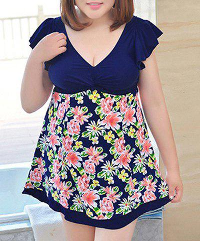 Online Sweet Style Plunging Neck Butterfly Sleeve Floral Print One-Piece Swimwear For Women - 3XL PURPLISH BLUE Mobile