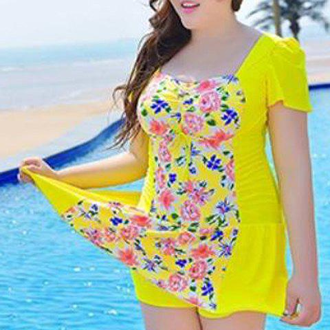 Shops Sweet Style Square Neck Short Sleeve One-Piece Floral Print Swimwear For Women