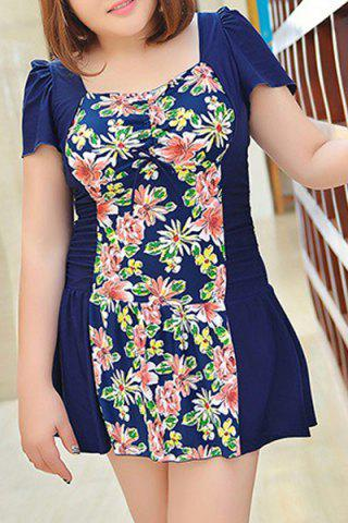 Cheap Sweet Style Square Neck Short Sleeve One-Piece Floral Print Swimwear For Women - 3XL PURPLISH BLUE Mobile