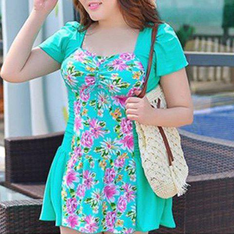 Fashion Sweet Style Square Neck Short Sleeve One-Piece Floral Print Swimwear For Women - 3XL GREEN Mobile