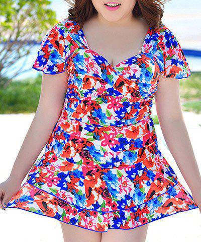 Buy Refreshing Sweetheart Neck Short Sleeve Colorful Floral Print One-Piece Swimwear For Women - 3XL COLORMIX Mobile