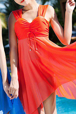 Sale Graceful Sweetheart Neck Solid Color See-Through Asymmetrical Swimwear For Women