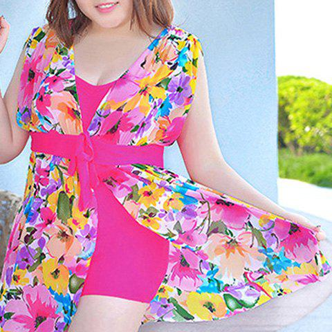 Fancy Graceful Plunging Neck One-Piece Floral Print Asymmetrical Swimwear For Women - 3XL ROSE Mobile