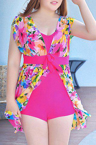 Sale Graceful Plunging Neck One-Piece Floral Print Asymmetrical Swimwear For Women - 3XL ROSE Mobile