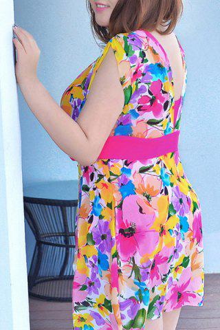 Fancy Graceful Plunging Neck One-Piece Floral Print Asymmetrical Swimwear For Women - 2XL ROSE Mobile