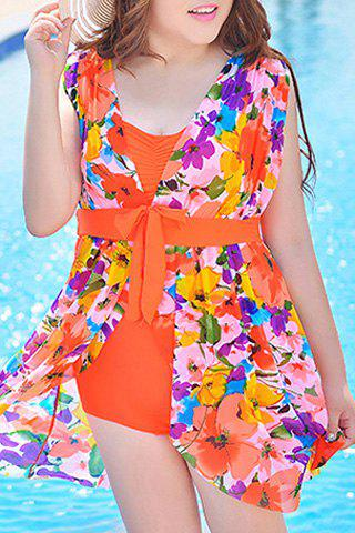 Buy Graceful Plunging Neck One-Piece Floral Print Asymmetrical Swimwear For Women - 4XL JACINTH Mobile