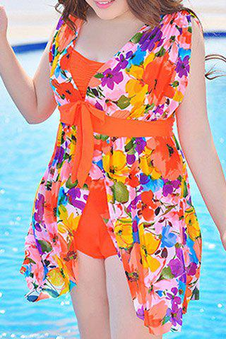 Latest Graceful Plunging Neck One-Piece Floral Print Asymmetrical Swimwear For Women - 4XL JACINTH Mobile