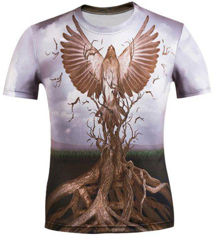 Outfits 3D Eagle and Bole Printed Round Neck Short Sleeve T-Shirt For Men COLORMIX M