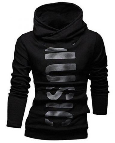 Outfits Classic Letters Pattern Front Pocket Fitted Hooded Long Sleeves Hoodie For Men
