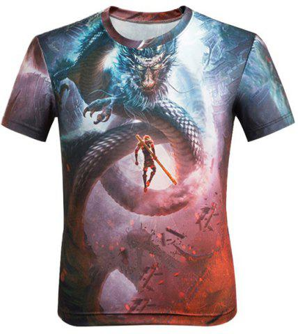 Best 3D Cartoon Dragon and Figure Printed Round Neck Short Sleeve T-Shirt For Men