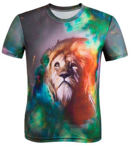 Chic 3D Lion Print Color Block Round Neck Short Sleeve T-Shirt For Men COLORMIX 3XL
