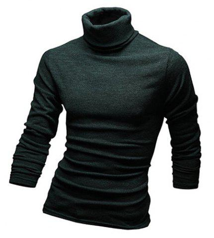 Store Laconic Solid Color Long Sleeves Turtleneck T-Shirt For Men - BLACKISH GREEN L Mobile