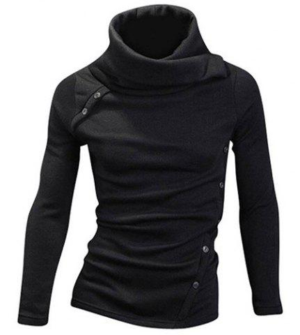 Cheap Vogue Heaps Collar Button Embellished Solid Color Long Sleeves Sweater For Men BLACK M