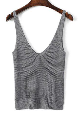 Stylish Straps Solid Color Crop Tank Top For Women - Gray - S