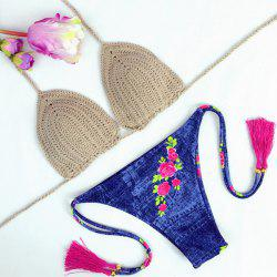 Vintage Floral Printed Denim Halter Crochet Bikini Set For Women -