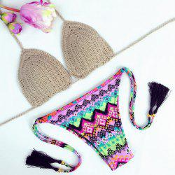 Sexy Colorful Printed Halter Crochet Bikini For Women -