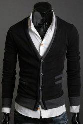 Casual V-Neck Color Splicing Patch Pocket Long Sleeves Cardigan For Men -