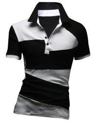 Fashion Turn-down Collar Color Lump Splicing Short Sleeves Polo T-Shirt For Men - BLACK