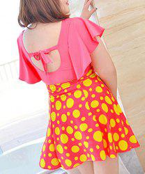 Graceful Plunging Neck One-Piece Polka Dot Backless Swimwear For Women