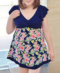 Sweet Style Plunging Neck Butterfly Sleeve Floral Print One-Piece Swimwear For Women