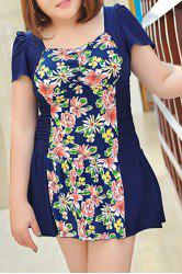 Sweet Style Square Neck Short Sleeve One-Piece Floral Print Swimwear For Women