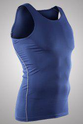 Slim Fit Pullover Dry Fit Solid Color Tank Top For Men - BLUE