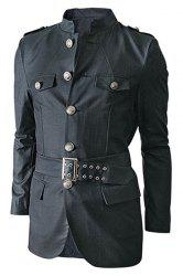 Multi-Pocket Epaulet and Belt Design Stand Collar Long Sleeves Jacket For Men -